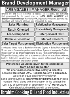 Cooking Oil and Food Industries Jobs 2020