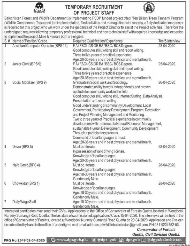 Forest and Wildlife Department Jobs 2020