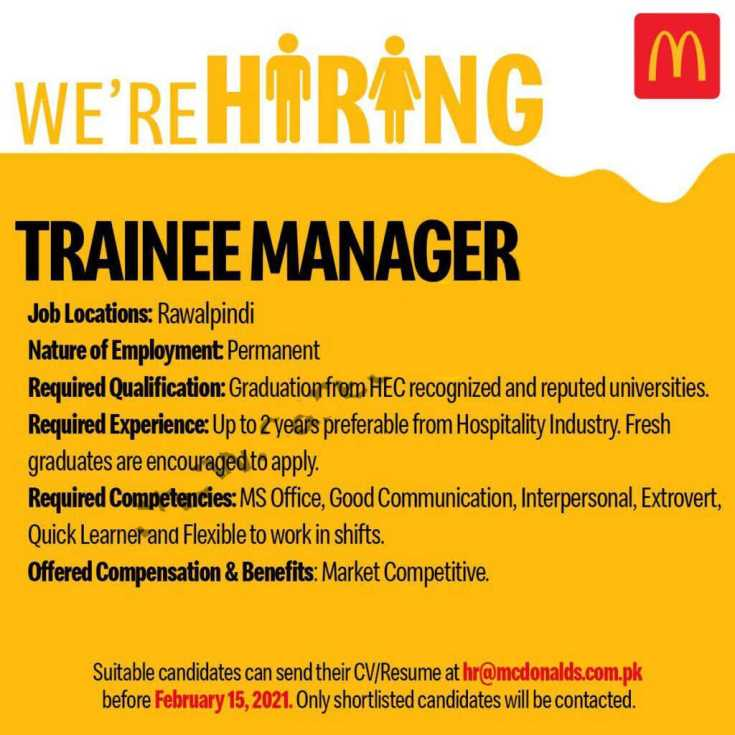 McDonalds Pakistan Jobs 2021