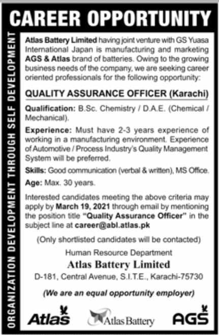 Atlas Battery Limited Jobs 2021