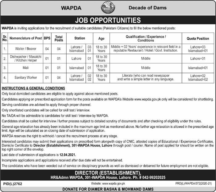 Wapda Pakistan Jobs 2021