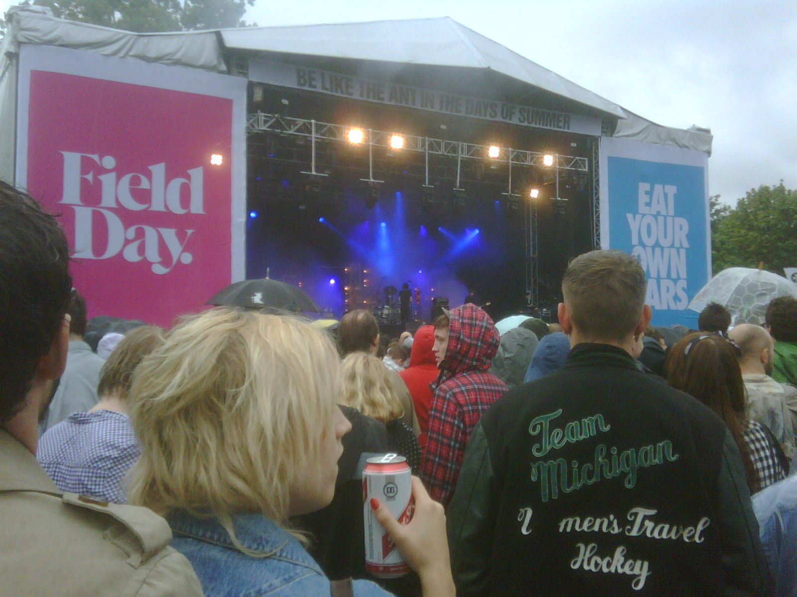 Field Day 2009: The Horrors on stage. The huge guy in the Team Michigan jacket is Oliver Sim from The xx.