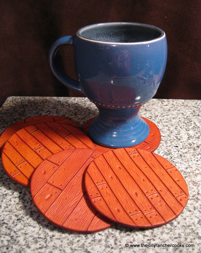 Wood-grain leather hand-carved coasters