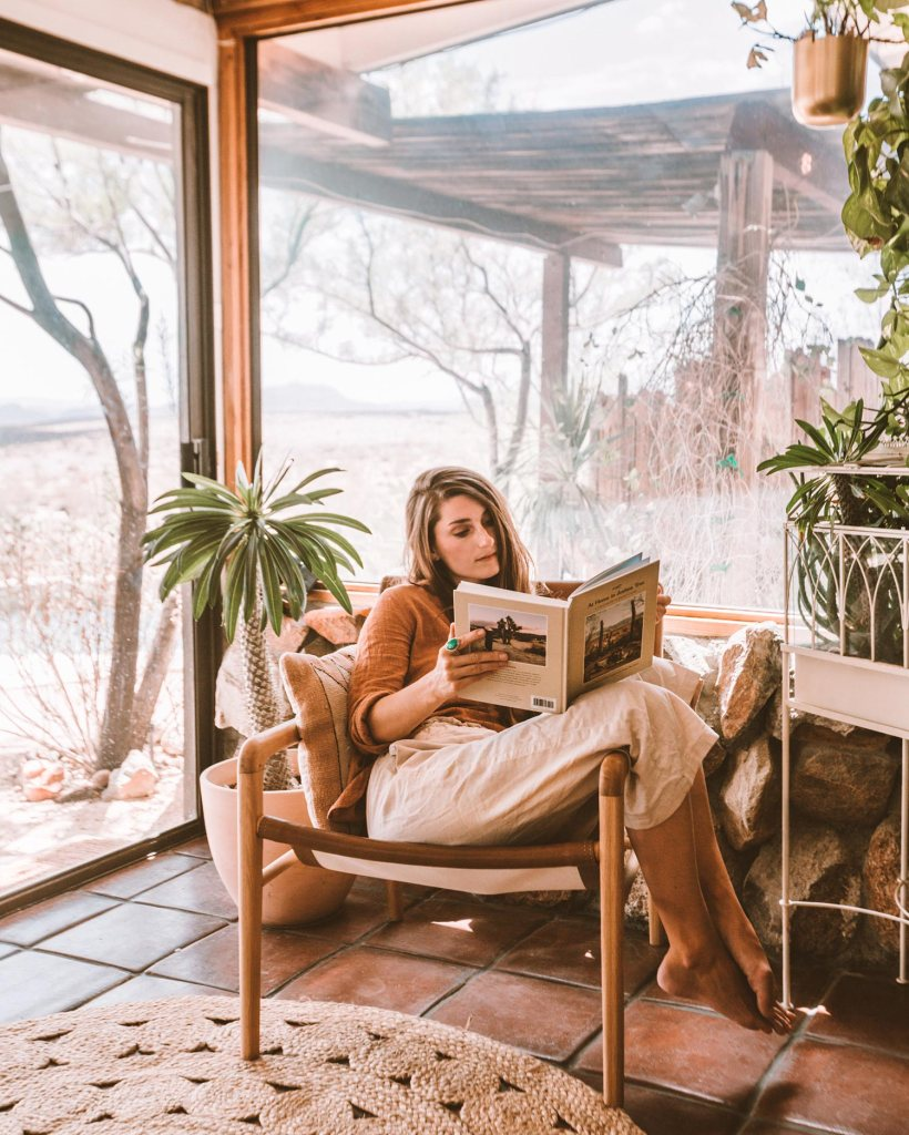 Sara Combs with At Home in Joshua Tree book
