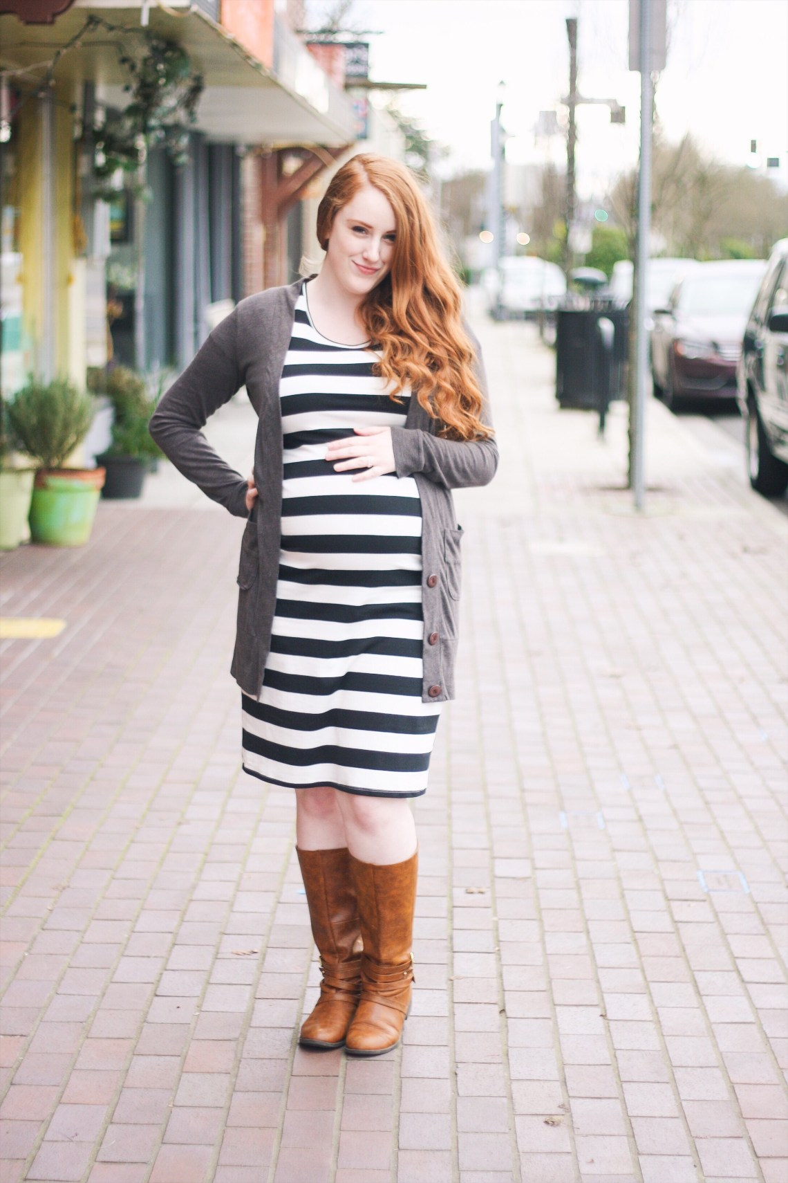 black and white striped Target maternity dress