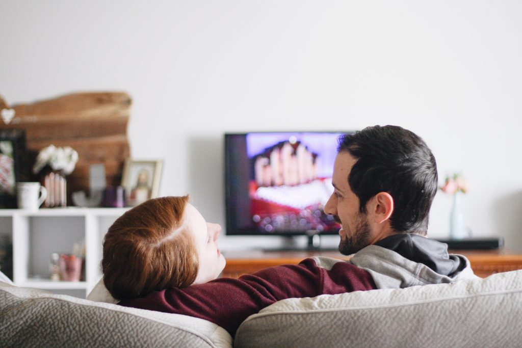 married couple watches lds general conference together