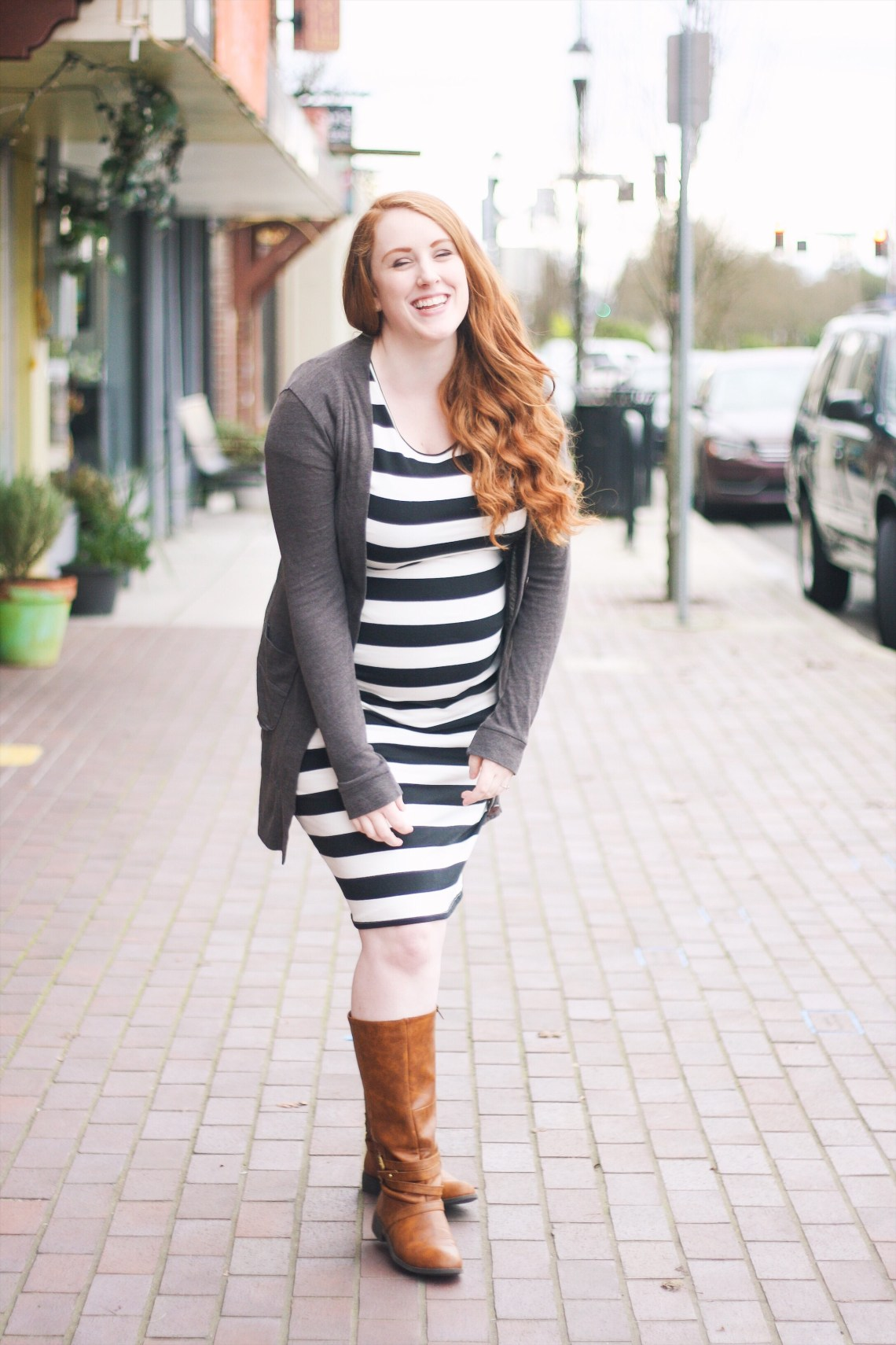 stretchy black and white striped Target maternity dress