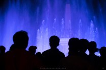 """Locals enjoys the view of the newly built """"dancing water fountain"""" of Vigan City in Ilocos Sur province."""