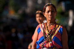 An elder woman from the Municipality of Natonin in Mt. Province is seen with her full traditional garb as she and many others participate at the 9th Lang-Ay Festival held inBontoc where there are ten municipalities joins all together for the festivities.