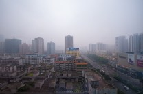 Guangzhou in China is seen covered with thick smog. The population of China suffers from the poor quality of air.