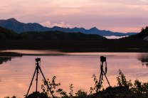Cameras on tripods are put up to capture some scenic views along the tailings dam of a mining company in Mankayan in Benguet province.