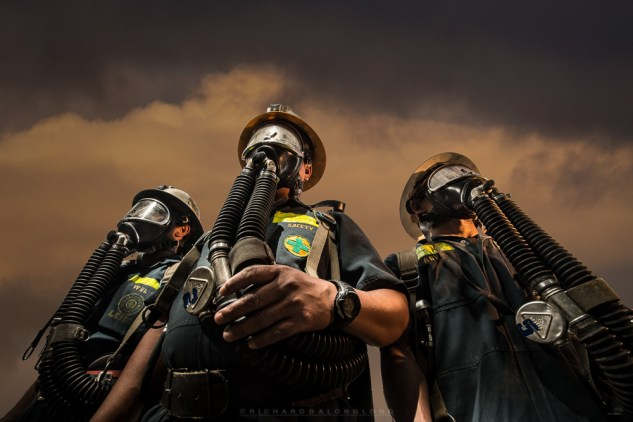 Portrait of mine-safety personnel of a mining industry in Mankayan in Benguet.