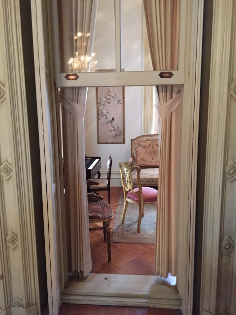 This music room off of the main living area was for musicians who were not deemed high society and therefore could not sit in the same room as party guests.