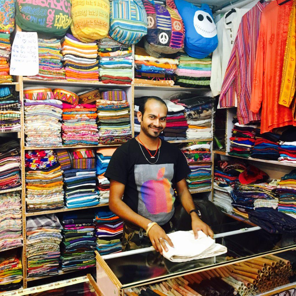 a textile shop in Manali