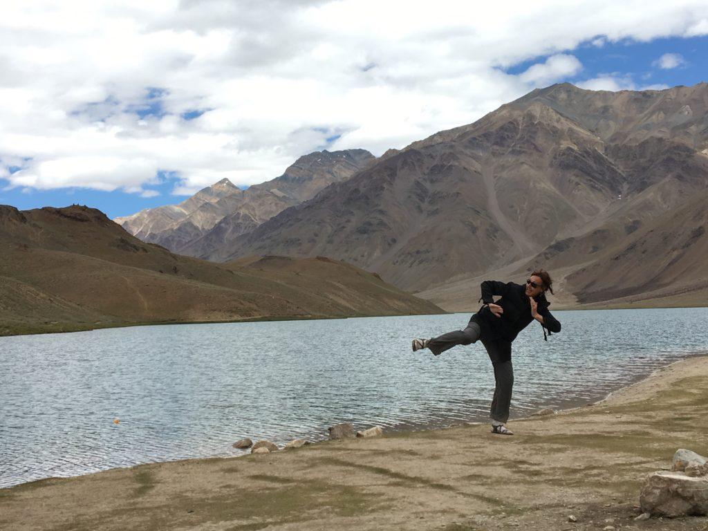 Hamming it up beside Chandra Tall Lake