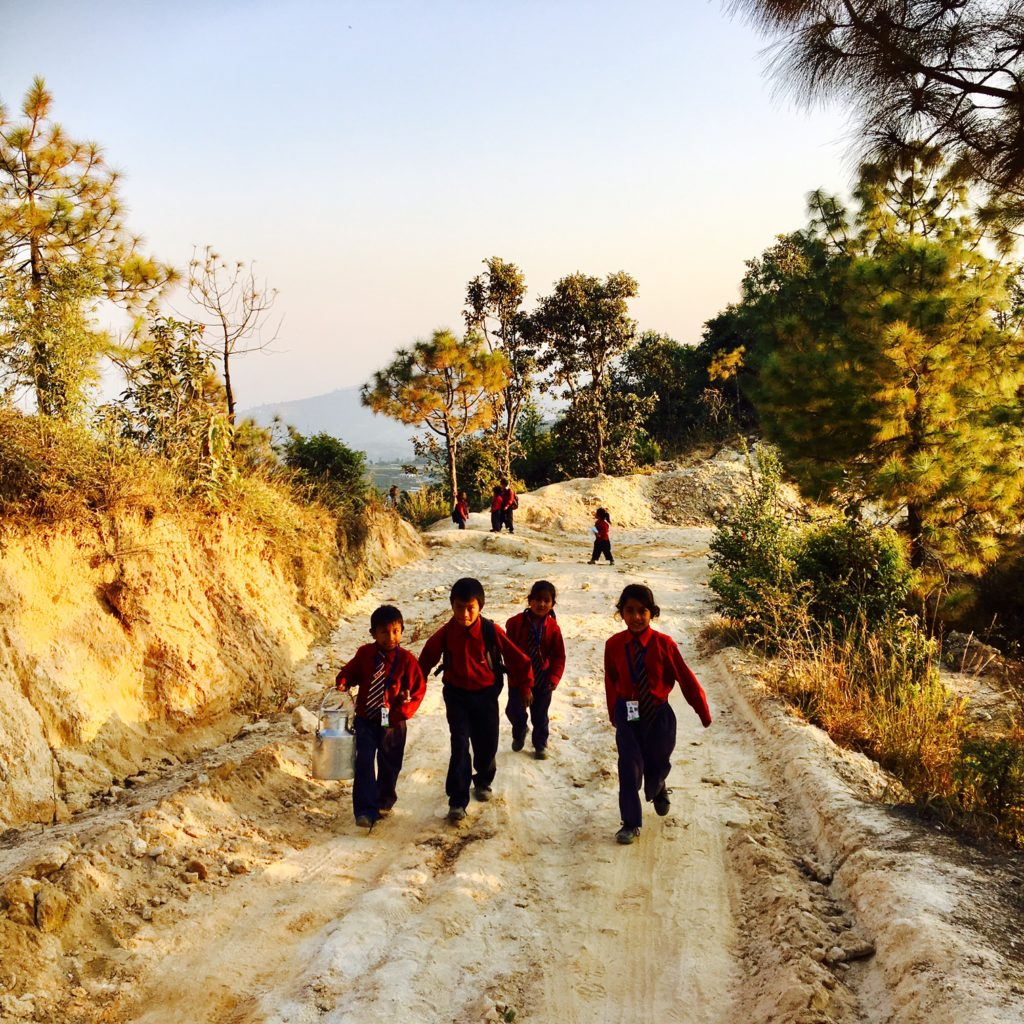 School children in the mountains of Nepal