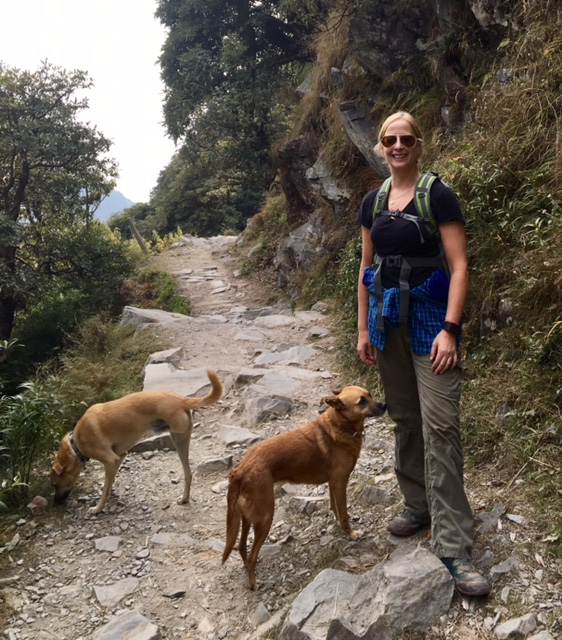 Deb Jarrett trekking with her 2 dogs