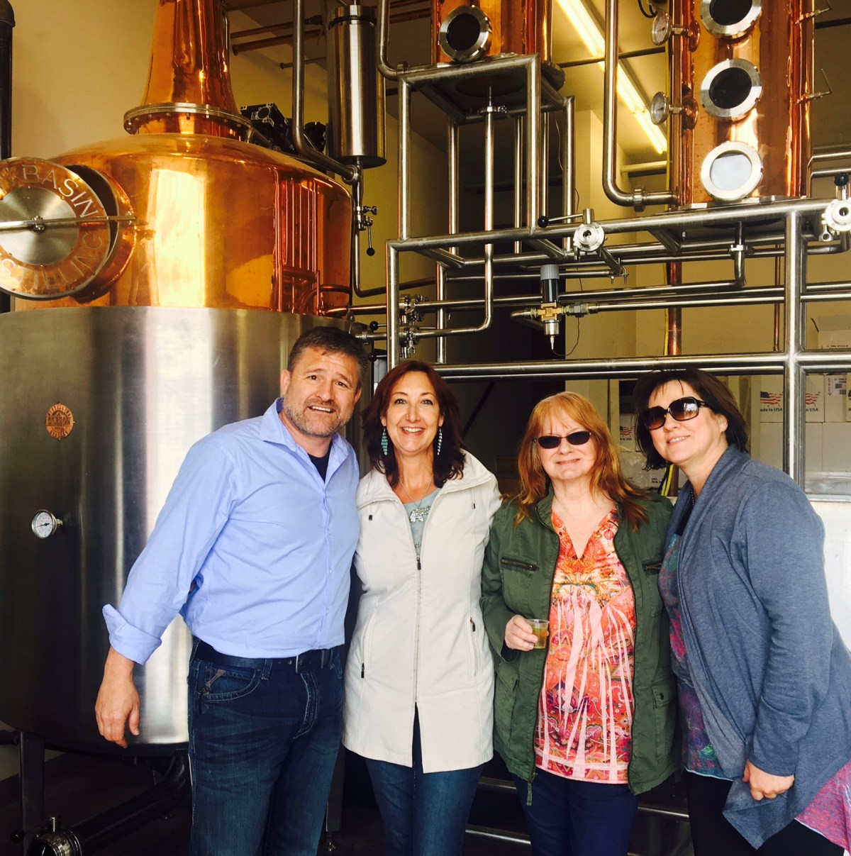 Rick Molitor, me, Susan and Yvonne at New Basin Distilling