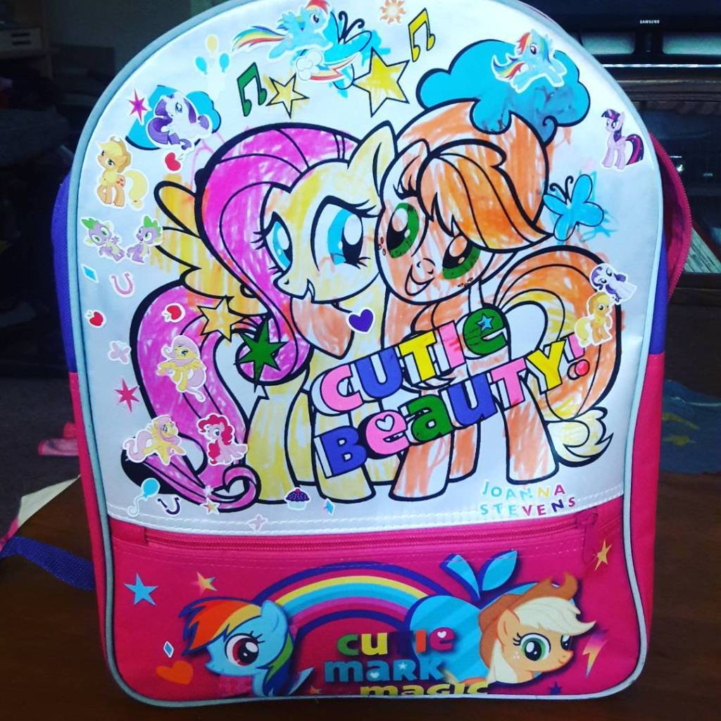 Getting ready for school tomorrow! Joannas special backpack All madehellip