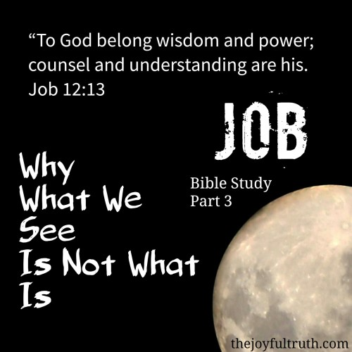 Bible Study in Job, understanding that we can't see from God's perspective, and because of that can't always see the truth of what is going on.