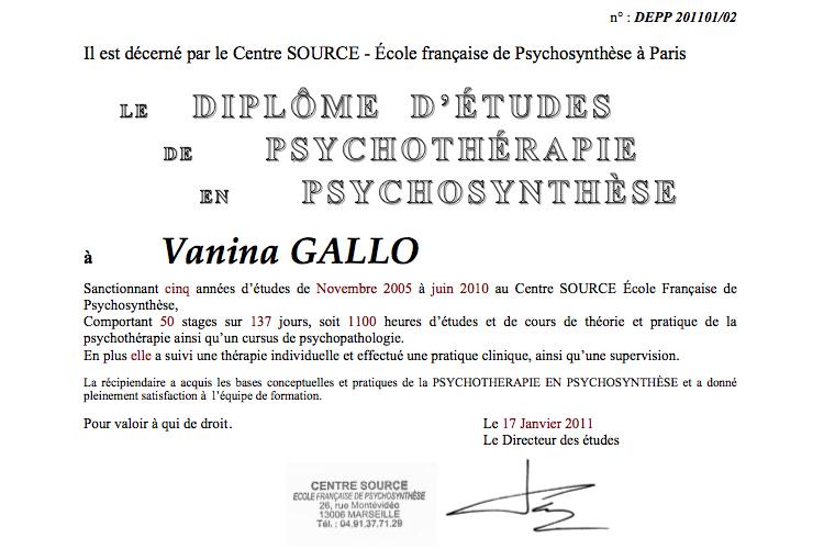 Vanina Gallo, Diplome d'Études de Psychothérapie en Psychosynthèse