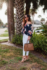 White jeans floral top