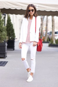 White jeans red stripes