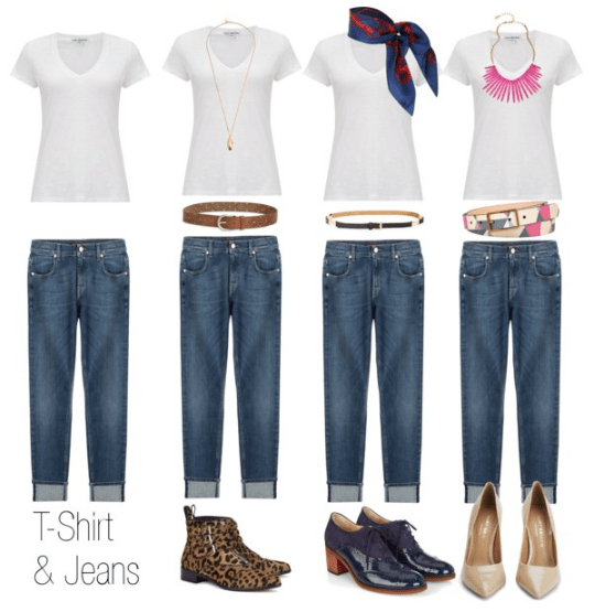 Accessories with t-shirt and jeans