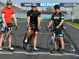 ..track inspection for Sir Chris Hoy, Martin Brundle, Paul Di Resta