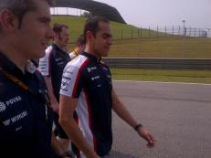 Pastor showing interest and doing the track walk - might be quicker than his car