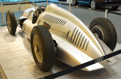 The Auto Union Type-D with its aerodynamic bodywork