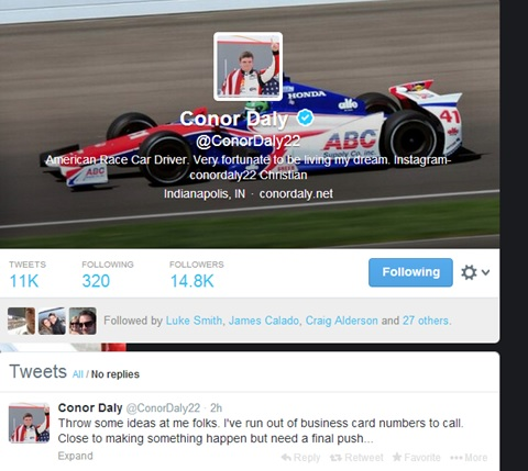 Conor Daly tweet 06-02-14