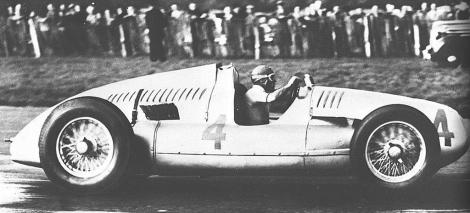 Nuvolari piloting his Auto Union to victory at Donington