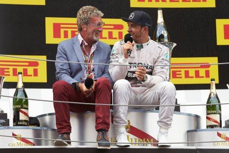 2014 Spanish Podium - Lewis Hamilton and Eddie Jordan