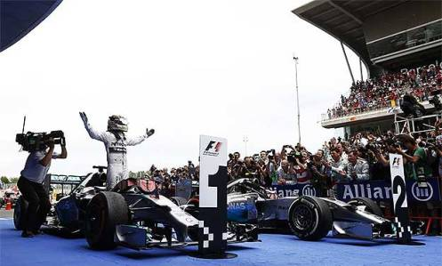 Hamilton revels in the post-race celebration