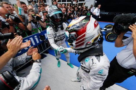 2014 AustrianGP winner and 2nd - Nico Rosberg and Lewis Hamilton