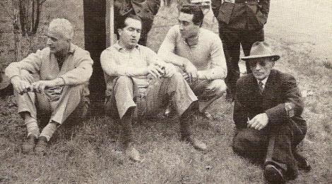 Vittorio Jano on far right with Luigi Villoresi, Alberto Ascari and Eugenio Castellotti