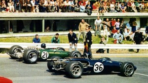Dan Gurney (36) and Jim Clark (21) on the front row of the grid at Spa 1967