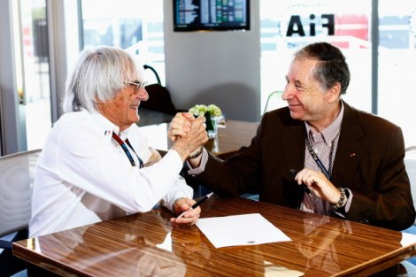 BUDAPEST, HUNGARY - JULY 27:  (L-R) Bernie Ecclestone the President and CEO of the Formula One Group and Jean Todt the President of the FIA sign a memorandum agreement setting out the framework for implementation of the 2013 Concorde Agreement prior to the qualifying session for the Hungarian Formula One Grand Prix at Hungaroring on July 27, 2013 in Budapest, Hungary.  (Photo by Vladimir Rys/Getty Images)