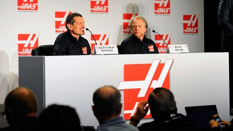 CONCORD, NC - APRIL 14:  (L-R) Guenther Steiner, team principal of Haas Formula, Gene Haas, founder, Haas Automation and chairman, Haas Formula, and Mike Arning, True Speed Communications, speak with the media during the Gene Haas Formula One Press Conference at the Concord Convention Center on April 14, 2014 in Concord, North Carolina.  (Photo by Jared C. Tilton/Getty Images)