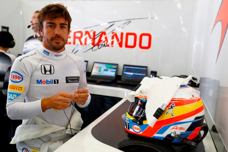 Fernando Alonso in the garage.