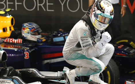 hamilton atop of his mercedes