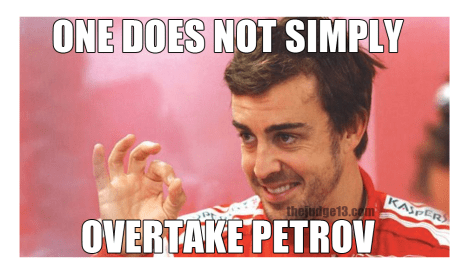 alonso fails to pass petrov at abu dhabi in 2010, so fails to win the world drivers championship