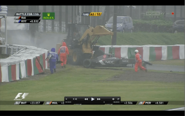 First shot of Jules crash from Camera 12. 6 seconds after impact. Notice the White cloud of Smoke and Dust behind tractor.