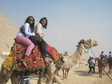 Mena and Alyssa got somehow swindled into riding a camel in Egypt together. Could not stop laughing!