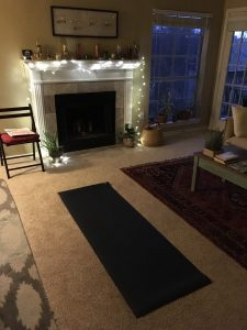 Yoga mat on the floor of a home