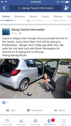 Joyce got a flat tire in the middle of nowhere Norway and the parking lot attendant at the Kjerag hike helped her out.