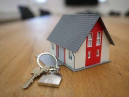 Key on house shaped key chain next to small house figurine