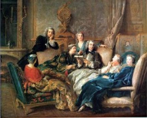 Painting of people from the 1700s in a fancy room reading and laying on chairs