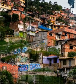 The neighborhoods the cable car passes above Medellin